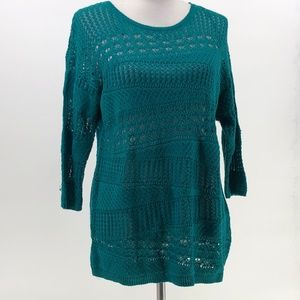 Dana Buchman teal open knit sweater sz PL